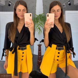 Заказать недорого женские шорты с высокой талией и пуговицами желтого цвета в подарок