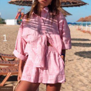 Заказать оптом летний женский костюм из хлопка шорты + рубашка дешево