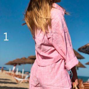 Купить в интернет-магазине женский летний из хлопка костюм рубашка + шорты недорого
