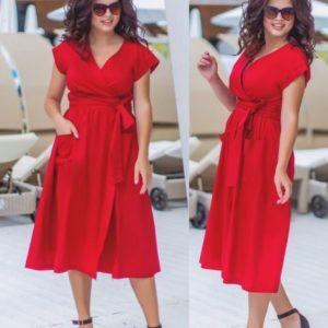 Приобрести в подарок женское платье элегантное батал на лето красного цвета больших размеров оптом Украина