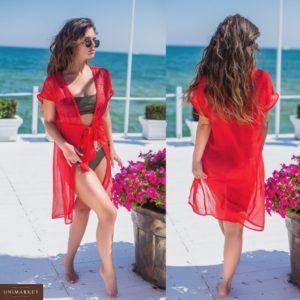 Купить дешево женскую летнюю тунику яркую с красивым принтом красного цвета больших размеров недорого