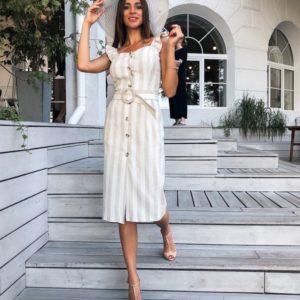 Приобрести дешево платье женское из коттона с поясом в полоску оптом Украина