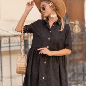 Приобрести дешево женское платье свободное на пуговицах из прошвы черного цвета оптом Украина