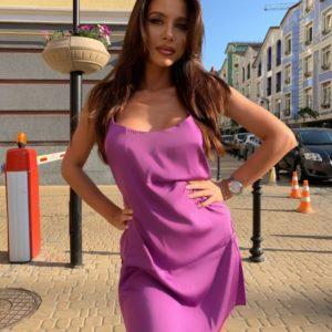 Приобрести дешево платье женское комбинация из шелка пурпурного цвета оптом