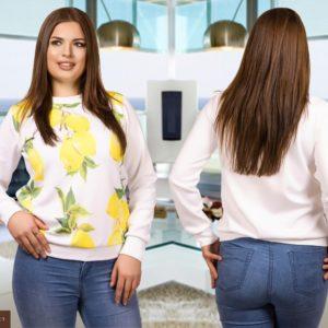 Приобрести в подарок женскую в спортивном стиле кофту белый-лимон расцветки больших размеров оптом Украина