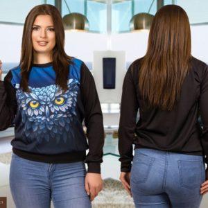 Заказать недорого кофту женскую в стиле спортивном черный-сова расцветки больших размеров в подарок