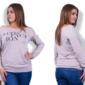 Купить дешево женскую кофту рукав реглан с глубоким вырезом сиреневого цвета больших размеров недорого