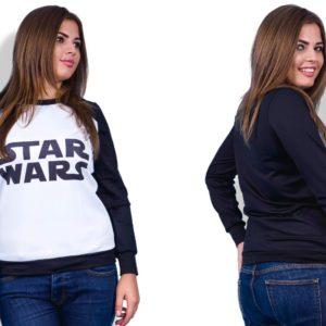 Приобрести в подарок женскую кофту больших размеров с надписью Star Wars оптом Украина