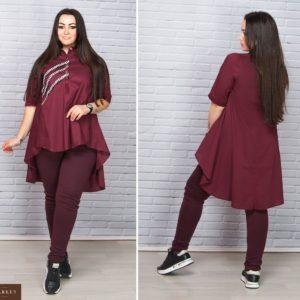 Приобрести женскую рубашку с удлинённой спинкой - тунику свободного кроя цвет бордовый больших размеров оптом Украина