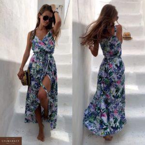 Заказать недорого женское длинное платье из штапеля с разрезом белый+цветы цвета в подарок
