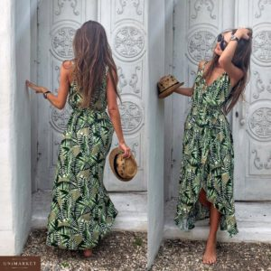 Приобрести дешево длинное женское платье с разрезом из штапеля хаки+листья цвета оптом Украина