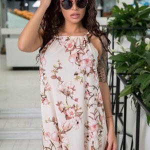 Приобрести в интернет-магазине женское в пол платье из софта цвета пудры размеров больших дешево