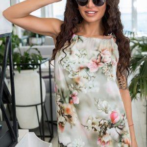 Заказать в подарок женское платье в пол из софта в цвет оливки больших размеров оптом Украина