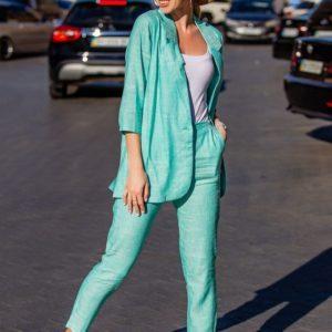 Приобрести в интернет-магазине женский льняной костюм элегантный пиджак рукав 3\4 брюки зауженные 7\8 ментоловый цвет размеров больших дешево