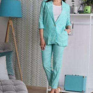 Заказать в подарок женский костюм льняной элегантный пиджак рукав 3\4 брюки зауженные 7\8 цвет ментола больших размеров оптом Украина