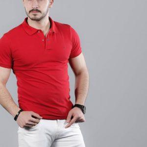 Приобрести в магазине мужскую рубашку - футболку поло больших размеров стрейч-котон красного цвета недорого