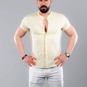 Заказать оптом мужскую в клетку кетен-лен рубашку недорого