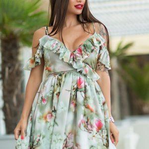 Приобрести в интернет-магазине женское на бретелях платье воланами украшено цвет сакуры размеров больших дешево