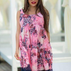 Заказать дешево женское платье ткань кружево+софт розового цвета размеров больших недорого