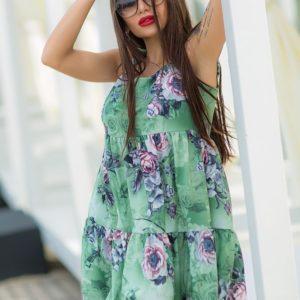 Купить недорого женское платье ткань софт+кружево в цвет оливки больших размеров в подарок