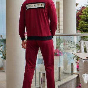 Приобрести в подарок мужской костюм спортивный с нашивками philipp plein бордового цвета размеров больших оптом Украина