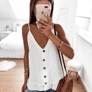 Приобрести в подарок блузку женскую с пуговицами на лямках цвета белого больших размеров оптом Украина