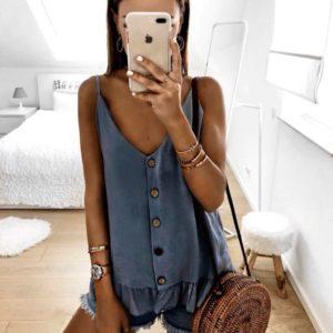 Купить дешево женскую блузку на лямках с пуговицами цвета синего больших размеров недорого