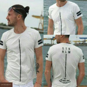 Заказать недорого мужскую котоновую с полоской футболку турция цвета меланж в подарок