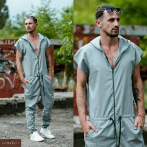 Купить дешево мужской комбинезон с коротким рукавом на лето серого цвета больших размеров недорого
