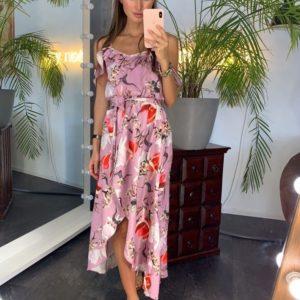 Приобрести дешево женское платье длинное с оборками на бретелях лилового цвета оптом Украина