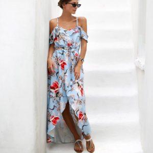 Купить в интернет-магазине длинное женское на бретелях платье с оборками голубого цвета недорого