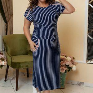 Купить недорого женское платье в полоску кимоно рукав пояс - кулиска цвет темно синий больших размеров в подарок