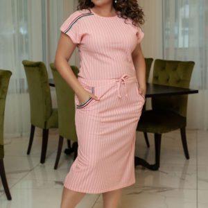 Приобрести в интернет-магазине женское в полоску платье рукав кимоно пояс - кулиска цвет розовый больших размеров дешево