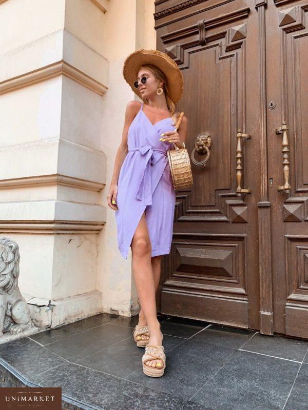 Купить недорого платье женское на пуговицах двубортное с поясом цвета сирени в подарок