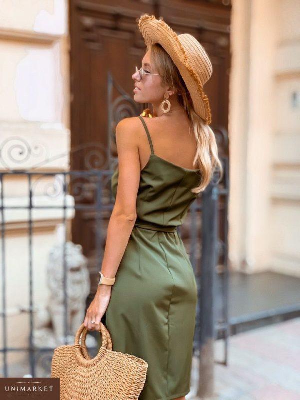 Заказать в подарок женское платье двубортное на пуговицах с поясом цвета хаки оптом Украина