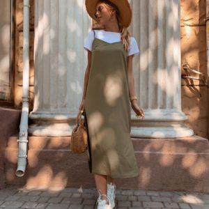 Купить в интернет-магазине женское платье с футболкой + разрезами из вискозы цвета хаки недорого