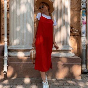 Заказать оптом летний платье женское из вискозы с разрезами + футболка красного цвета дешево