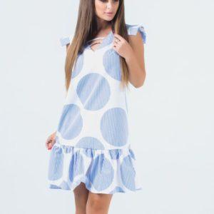 Купить в интернет-магазине женское с оборкой летнее платье в полоску бело-голубую из софта недорого