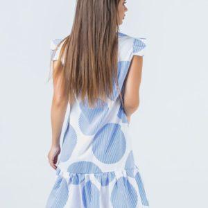 Заказать недорого женское летнее платье с оборкой в полоску бело-голубую из софта в подарок