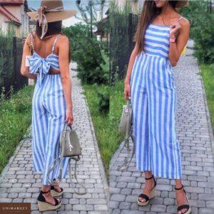 Приобрести дешево женский комбинезон летний в широкую полоску голубую из льна оптом Украина