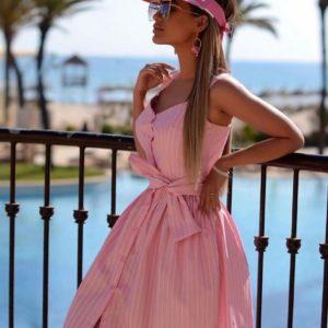 Купить в интернет-магазине женский сарафан с поясом на пуговицах из хлопка персикового цвета недорого