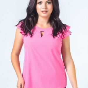 Приобрести женскую блузу ткань софт супер цвета малинового больших размеров оптом Украина