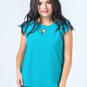 Заказать в подарок блузу женскую ткань супер софт цвета бирюзы размеров больших оптом Украина