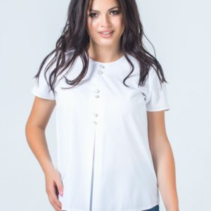 Купить недорого женскую блузку из софта декорирована пуговицами цвет белый больших размеров в подарок