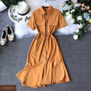 Заказать дешево женское платье с карманами рубашка на пуговицах горчичного цвета размеров больших недорого