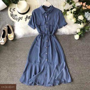 Купить недорого женское платье на пуговицах рубашка с карманами темно-синего цвета больших размеров в подарок