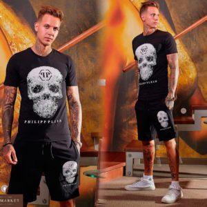 Купить дешево мужской костюм шорты с футболкой из хлопка Philipp Plein больших размеров недорого