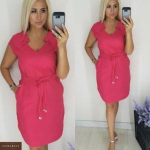Купить недорого женское платье с защипами с мягким поясом декольте пурпурного цвета больших размеров в подарок