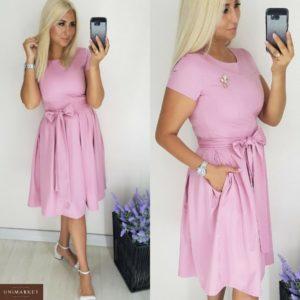 Приобрести в интернет-магазине платье женское приталенный юбка силуэт с защипами по талии пояс мягкий розового цвета размеров больших дешево