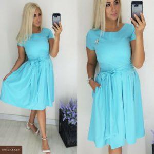 Заказать в подарок женское платье приталенный силуэт юбка с защипами по талии мягкий пояс бирюзового цвета больших размеров оптом Украина